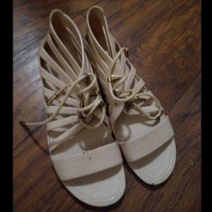 Cream Jelly Gladiator Sandals